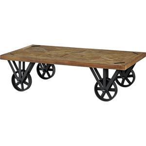 トロリーテーブル/ローテーブル 【幅120cm】 木製 アイアン キャスター付き 『ヒストリア』 〔リビング 店舗〕