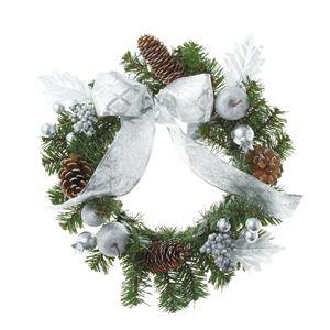 【クリスマス】30cmシルバーリボンリース CBD-139 - 拡大画像