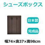 共和産業 マカロン シューズボックス 74Lシューズ ブラウン【幅74×高さ98cm】 日本製 国産の画像