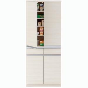 おしゃれでシンプルなキッチンボード フナモコ 食器棚 キッチンストッカー (カラー:ホワイトウッド/リアルウォールナット)