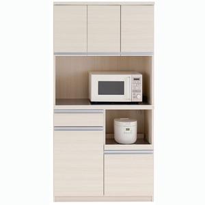 おしゃれでシンプルなキッチンボード フナモコ 食器棚 (カラー:ホワイトウッド/リアルウォールナット)
