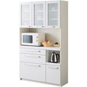 パモウナ 食器棚YC 【幅105×高さ180cm】 YC-S1050R プレーンホワイト - 拡大画像