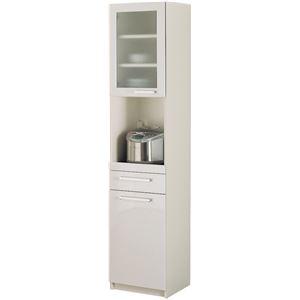 パモウナ 食器棚YC 【幅40.4×高さ180cm】 YC-S400R プレーンホワイト - 拡大画像