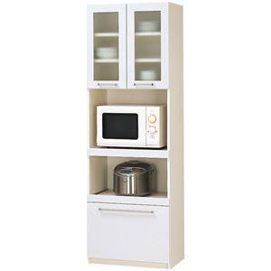 パモウナ 食器棚YC 【幅60×高さ180cm】 YC-S600R プレーンホワイト - 拡大画像
