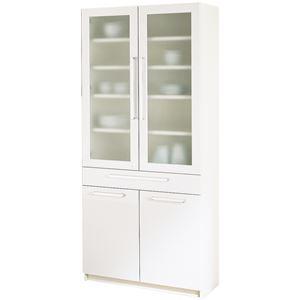 パモウナ 食器棚YC 【幅80×高さ180cm】 YC-S800K プレーンホワイト - 拡大画像