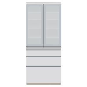 パモウナ 食器棚JI 【幅80×奥行44.5×高さ187cm】 JI-S800K パールホワイト - 拡大画像