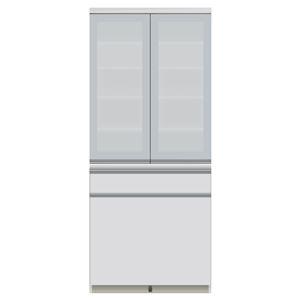 パモウナ 食器棚JI 【幅80×奥行44.5×高さ187cm】 JI-S801K パールホワイト - 拡大画像