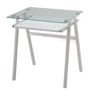 あずま工芸 ガラスデスク 幅70cm ガラス天板 ホワイト EDG-1971 - 拡大画像