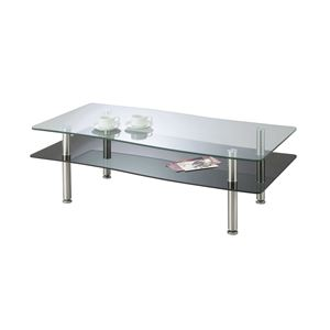 あずま工芸 リビングテーブル 幅110cm ガラス天板 ブラック GLT-189 - 拡大画像