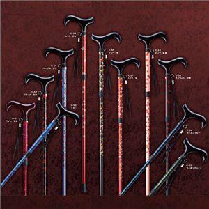 MYSTICKカーボンシリーズ折たたみ(5段調節) 杖/折りたたみ杖、スティック C-52/ ブラック/花柄 - 拡大画像