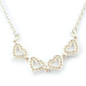 FOLLI FOLLIE(フォリフォリ) Heart4Heart Necklace ハート4ハート ネックレス シルバー ピーチ 3N1F033S - 拡大画像
