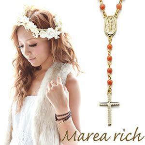 Marea rich(マレアリッチ) 2way ロザリオ ペンダント ゴールド×染色サンゴ 10KA-02 - 拡大画像