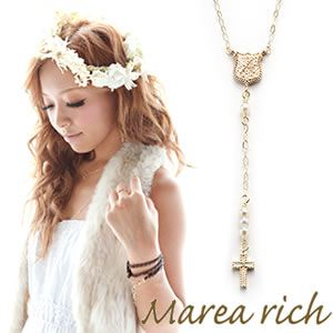 Marea rich(マレアリッチ) K10 イニシャルネックレス 2way ロザリオ ダイヤモンド/淡水パール イニシャルA 10KJ-16-A - 拡大画像