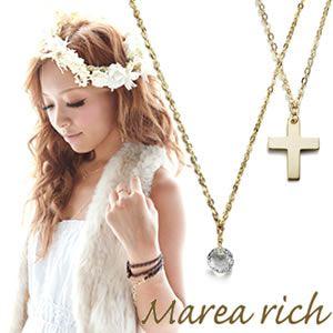 Marea rich(マレアリッチ) K10 クロスチーフ・ホワイトクォーツ 2WAY ロングネックレス ゴールド 10KJ-20 - 拡大画像