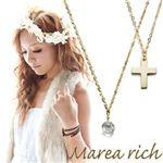 Marea rich(マレアリッチ) K10 クロスチーフ・ホワイトクォーツ 2WAY ロングネックレス ゴールド 10KJ-20