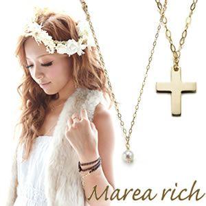 Marea rich(マレアリッチ) K10 クロスチーフ・淡水パール 2WAY ロングネックレス ゴールド 10KJ-21 - 拡大画像