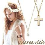 Marea rich(マレアリッチ) K10 クロスチーフ・淡水パール 2WAY ロングネックレス ゴールド 10KJ-21
