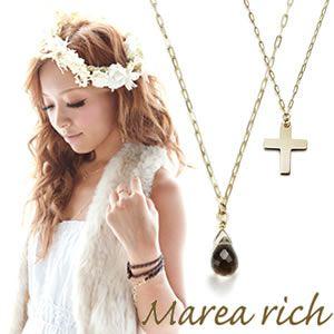 Marea rich(マレアリッチ) K10 クロスモチーフ・スモーキークォーツ 2WAY ロングネックレス ゴールド 10KJ-22 - 拡大画像