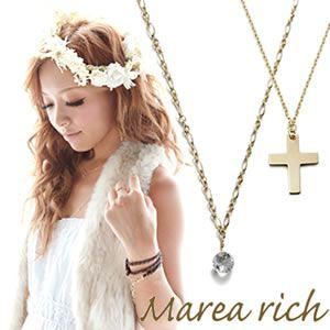 Marea rich(マレアリッチ) K10 クロスモチーフ・ホワイトクォーツ 2WAY ロングネックレス ゴールド 10KJ-23 - 拡大画像