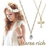 Marea rich(マレアリッチ) K10 クロスモチーフ・ホワイトクォーツ 2WAY ロングネックレス ゴールド 10KJ-23