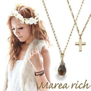 Marea rich(マレアリッチ) K10 クロスモチーフ・スモーキークォーツ 2WAY ロングネックレス ゴールド 10KJ-24 - 拡大画像