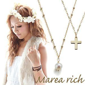 Marea rich(マレアリッチ) K10 クロスモチーフ・淡水パール 2WAY ロングネックレス ゴールド 10KJ-25 - 拡大画像