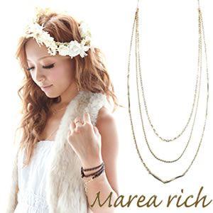 Marea rich(マレアリッチ) Triple Necklace K10 3連ネックレス ゴールド 10KJ-28 - 拡大画像