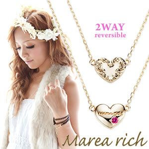 Marea rich(マレアリッチ) Heart series K10 ハートモチーフネックレス 2WAY リバーシブル ゴールド×ルビー 11KJ-31 - 拡大画像