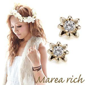 Marea rich(マレアリッチ) K10 シンプルダイヤピアス ゴールド×ダイヤモンド 10KJ-10 - 拡大画像