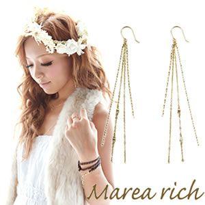 Marea rich(マレアリッチ) Chain Pierce K10 チェーンピアス ゴールド 10KJ-29 - 拡大画像