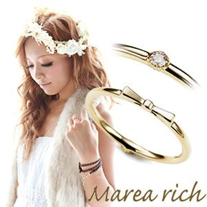 Marea rich(マレアリッチ) K10 リボンモチーフ・ダイヤ 2WAY ピンキーリング ゴールド×ダイヤモンド 3号 10KJ-17 - 拡大画像