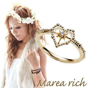 Marea rich(マレアリッチ) Hawaiian series K10 ハワイアン ハートモチーフ リング ゴールド×ダイヤモンド 10号 11KJ-13 - 拡大画像
