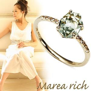 Marea rich(マレアリッチ) 半貴シリーズ K10 リング ゴールド×グリーンアメジスト/ホワイトサファイア 10号 12KJ-21 - 拡大画像