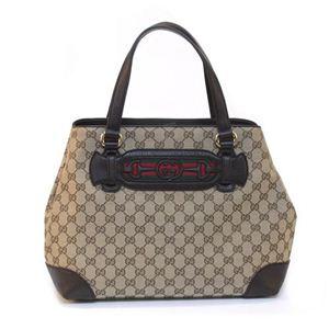 Gucci(グッチ) DRESSAGE オリジナルGG Gホースビット&ウェブ トートバッグ ミディアム ベージュ/ダークブラウン 296850 F4CKG 9791 - 拡大画像