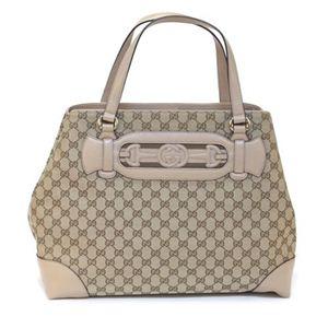 Gucci(グッチ) DRESSAGE オリジナルGG Gホースビット&ウェブ トートバッグ ミディアム ベージュ/ライトベージュ 296847 F4CKG 8735 - 拡大画像