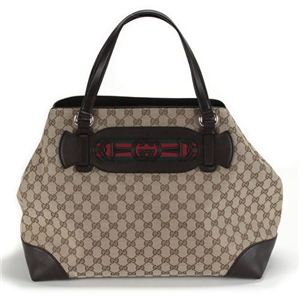 Gucci(グッチ) DRESSAGE オリジナルGG Gホースビット&ウェブ トートバッグ ミディアム ベージュ/ブラウン 296847 F4CKG 9791 - 拡大画像