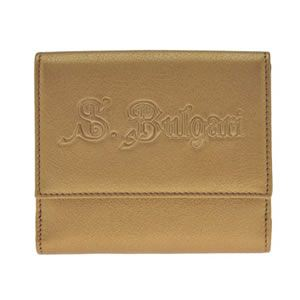Bvlgari(ブルガリ) S.BULGARI ロゴ型押し カーフ Wホック 小銭入れ付 二つ折り財布 ブロンズ 32851 CALF/BRZ - 拡大画像