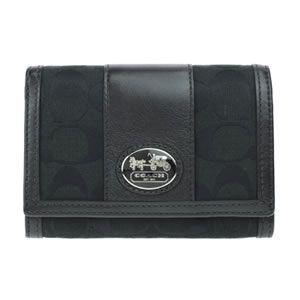 Coach(コーチ) サットンシグネチャー 二つ折り財布 ブラック/ブラック 43986 SBKBK - 拡大画像