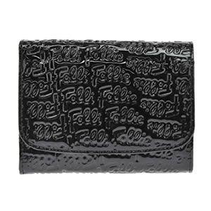 FOLLI FOLLIE(フォリフォリ) ロゴマニア ロゴ型押し 小銭入れ付 二つ折り財布 ブラック WA0L026SK BLK - 拡大画像