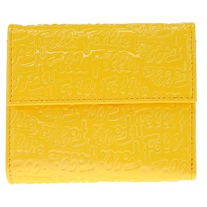 FOLLI FOLLIE(フォリフォリ) ロゴマニア ロゴ型押し 小銭入れ・パスケース付 三つ折財布 イエロー WA0L027SY YEL - 拡大画像