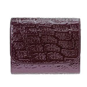 FOLLI FOLLIE(フォリフォリ) ロゴマニア ロゴ型押し 小銭入れ付 二つ折り財布 パープル WA0L026SV VIO - 拡大画像