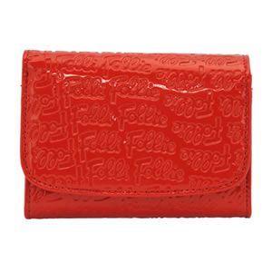 FOLLI FOLLIE(フォリフォリ) ロゴマニア ロゴ型押し 小銭入れ付 二つ折り財布 レッド WA0L026SR RED - 拡大画像