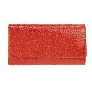 FOLLI FOLLIE(フォリフォリ) ロゴマニア ロゴ型押し L字ファスナー小銭入れ付 二つ折り長財布 レッド WA7L044SR RED - 拡大画像