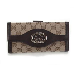Gucci(グッチ) SUKEY スーキー オリジナルGG Wホック 二つ折り長財布 ベージュ/ダークブラウン 282426 FAFXG 9643 - 拡大画像
