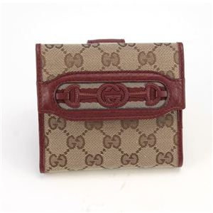 Gucci(グッチ) オリジナルGG インターロッキングGホースビット ウェブ Wホック 二つ折り財布 ベージュ/ディープレッド 295352 F4CKG 8566 - 拡大画像