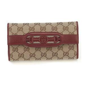 Gucci(グッチ) オリジナルGG インターロッキングGホースビット ウェブ 二つ折り長財布 ベージュ/ディープレッド 295353 F4CKG 8566 - 拡大画像
