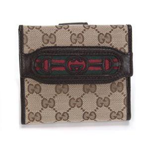 Gucci(グッチ) オリジナルGG インターロッキングGホースビット ウェブ Wホック 二つ折り財布 ベージュ/ブラウン 295352 F4CKG 9791 - 拡大画像