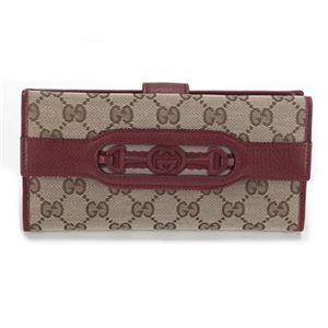 Gucci(グッチ) オリジナルGG インターロッキングGホースビット ウェブ Wホック 二つ折り長財布 ベージュ/ディープレッド 295351 F4CKG 8566 - 拡大画像