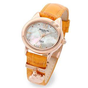 アレサンドラオーラ 肉球型チャーム付 ネコモチーフ 腕時計 天然ダイヤモンド2ポイント レディース レザーウォッチ ピンクゴールド/オレンジ AO-2220P-OR - 拡大画像