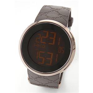 Gucci(グッチ) メンズ 腕時計 【新作】I-Gucci(アイ-グッチ)コレクション YA114シリーズ デジタルワールドタイム GGラバーストラップ ブラウンPVD YA114209 - 拡大画像